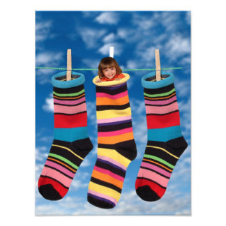 Brightly colored socks photo print