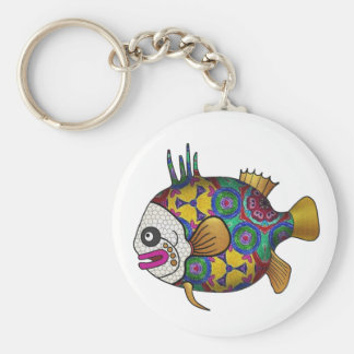Brightly colored tropical fish - 2 basic round button key ring
