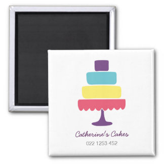 Brightly Coloured Cake Bakery Magnet