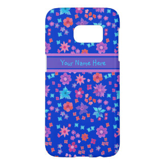 Brightly Coloured Ditsy Flowers Pattern on Blue