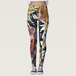 Brightly coloured floral leggings
