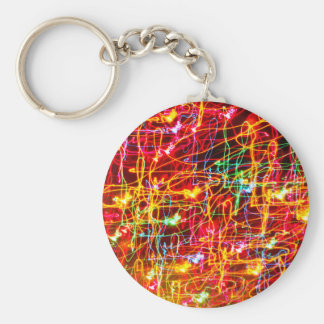 BRIGHTLY COLOURED LIGHT SWIRLS BASIC ROUND BUTTON KEY RING