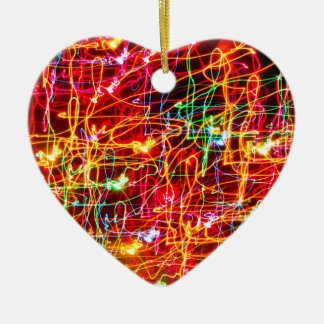 BRIGHTLY COLOURED LIGHT SWIRLS CERAMIC HEART DECORATION