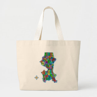 Brightly Coloured Map of Seattle Jumbo Tote Bag