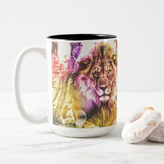 Brightly coloured two tone lion mug