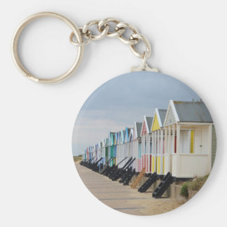 Brightly Painted Beach Huts Key Chain