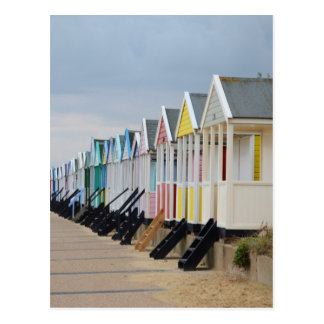 Brightly Painted Beach Huts Postcard