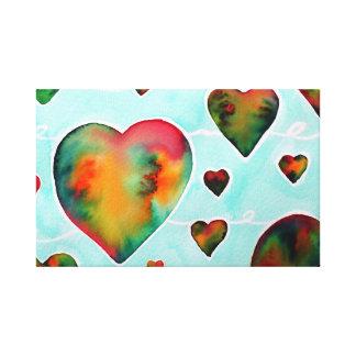 Brightness watercolor hearts print on canvas