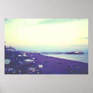 Brighton beach and pier, UK Poster