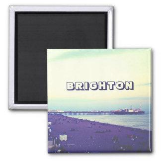 Brighton beach and pier, UK Square Magnet