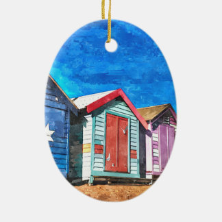Brighton Beach Bathing Boxes Ceramic Oval Decoration