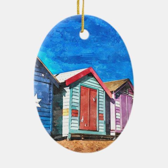 Brighton Beach Bathing Boxes Christmas Ornament