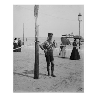 Brighton Beach Life Guard, 1906. Vintage Photo Poster