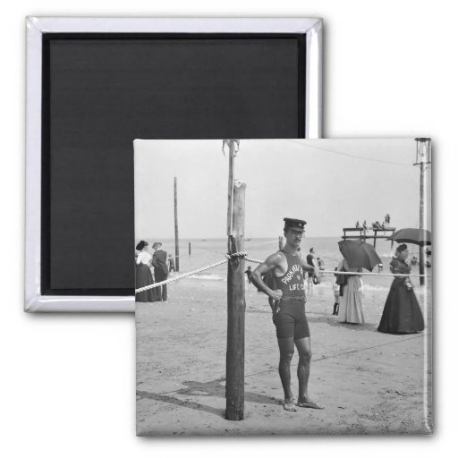 Brighton Beach Lifeguard, early 1900s Square Magnet