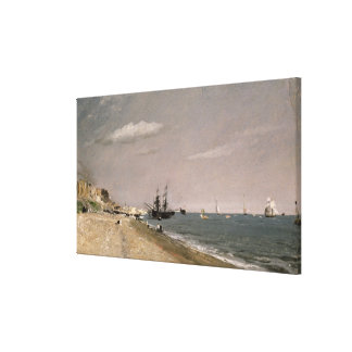 Brighton Beach with colliers, 1824 Canvas Print