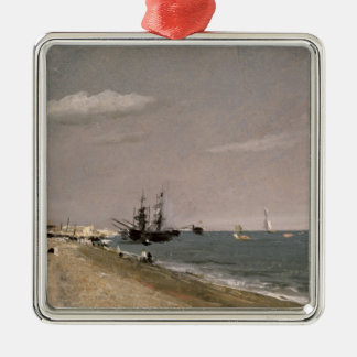 Brighton Beach with colliers, 1824 Silver-Colored Square Decoration