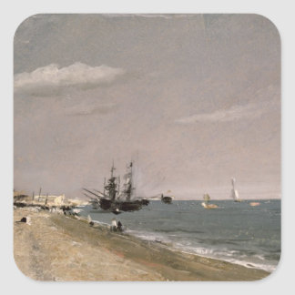 Brighton Beach with colliers, 1824 Square Sticker