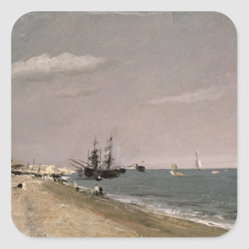 Brighton Beach with colliers, 1824 Square Stickers