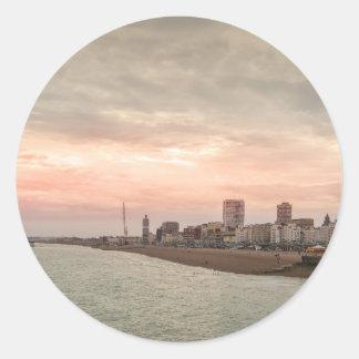 Brighton cityscape round sticker