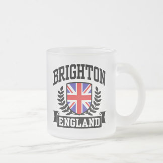 Brighton England Frosted Glass Coffee Mug