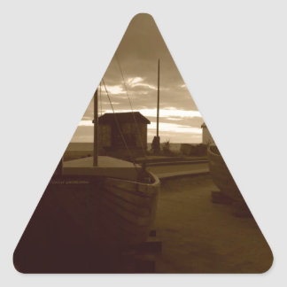 Brighton Fishing Boats Triangle Sticker