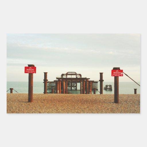 Brighton old pier rectangular stickers