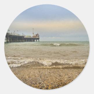 Brighton pier round sticker