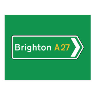 Brighton, UK Road Sign Postcard