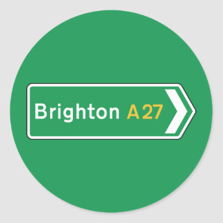 Brighton, UK Road Sign Round Sticker