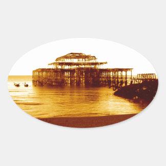 brighton west pier (07) oval sticker
