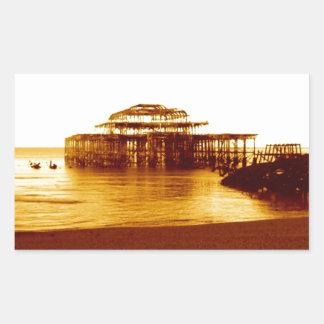 brighton west pier (07) rectangular sticker