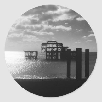 Brighton West Pier black & white Classic Round Sticker