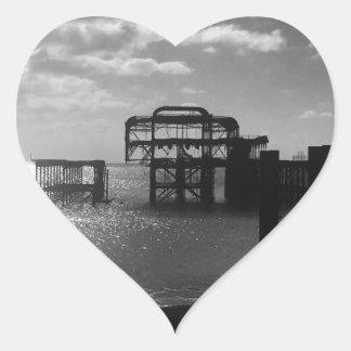 Brighton West Pier black & white Heart Sticker