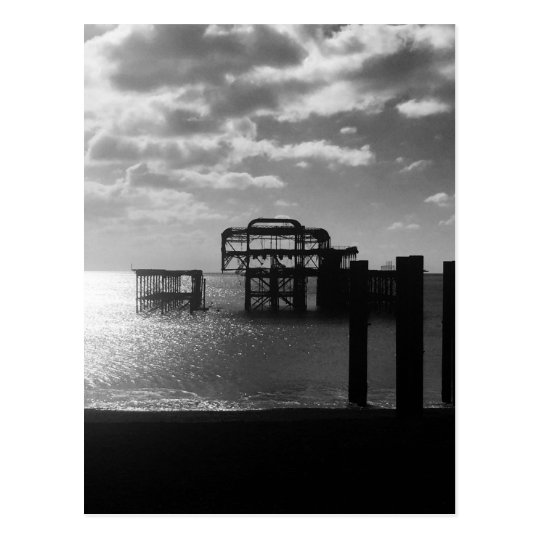 Brighton West Pier black & white Postcard