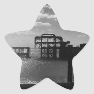 Brighton West Pier black & white Star Sticker