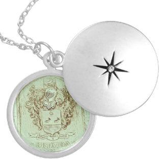 Brigida Family Crest Necklace(Vintage Blue/Silver) Round Locket Necklace