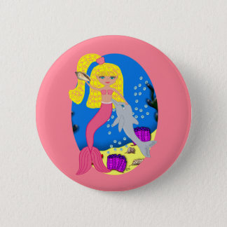 Brigit the Pink Mermaid and Dolphin Button