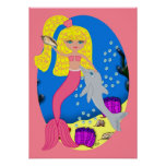 Brigit the Pink Mermaid and Dolphin Poster