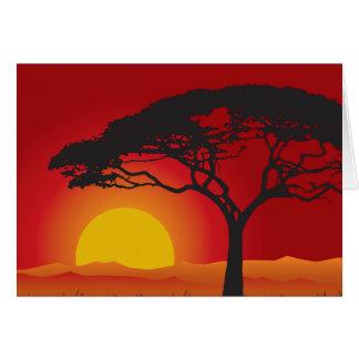 Briliiant Red Sunset Under The Bonsai Tree Card
