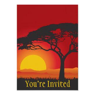 Briliiant Red Sunset Under The Bonsai Tree 13 Cm X 18 Cm Invitation Card