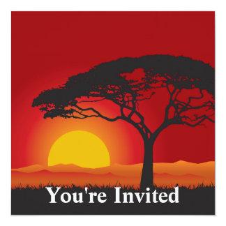 Briliiant Red Sunset Under The Bonsai Tree 13 Cm X 13 Cm Square Invitation Card