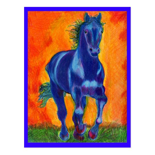 Brillian Blue Horse Postcard