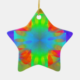Brilliance Cross Double-Sided Star Ceramic Christmas Ornament