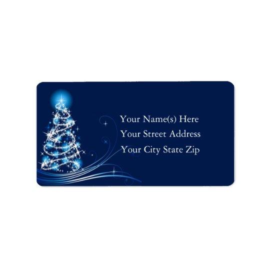 Brilliant Blue Christmas Tree Address Label