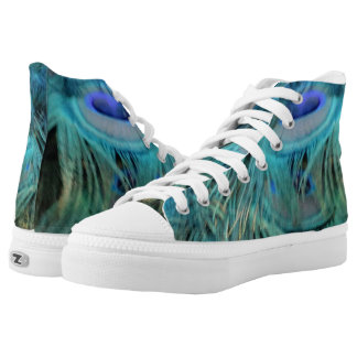 Brilliant Blue Peacock Feathers High Tops