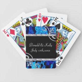 Brilliant Blue Roses & Diamond Swirls Wedding Bicycle Playing Cards