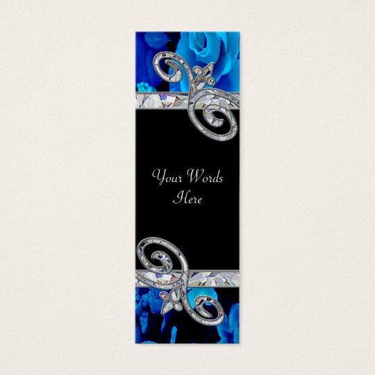 Brilliant Blue Roses & Diamond Swirls Wedding BM Mini Business Card