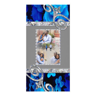 Brilliant Blue Roses & Diamond Swirls Wedding CST1 Personalized Photo Card