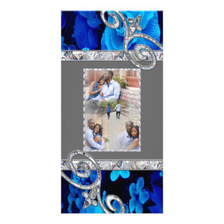 Brilliant Blue Roses & Diamond Swirls Wedding CST2 Customized Photo Card