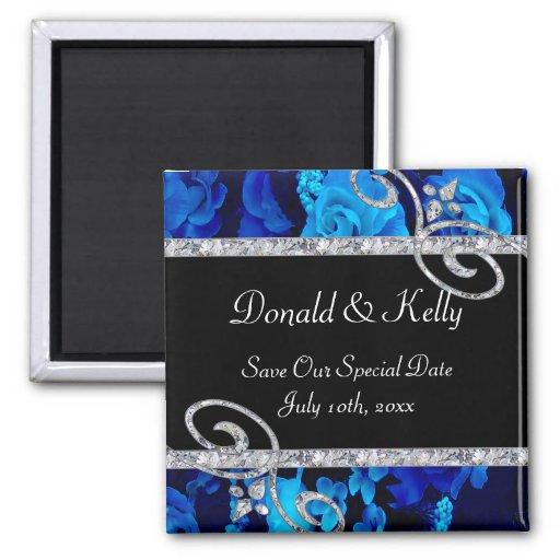 Brilliant Blue Roses & Diamond Swirls Wedding Refrigerator Magnets